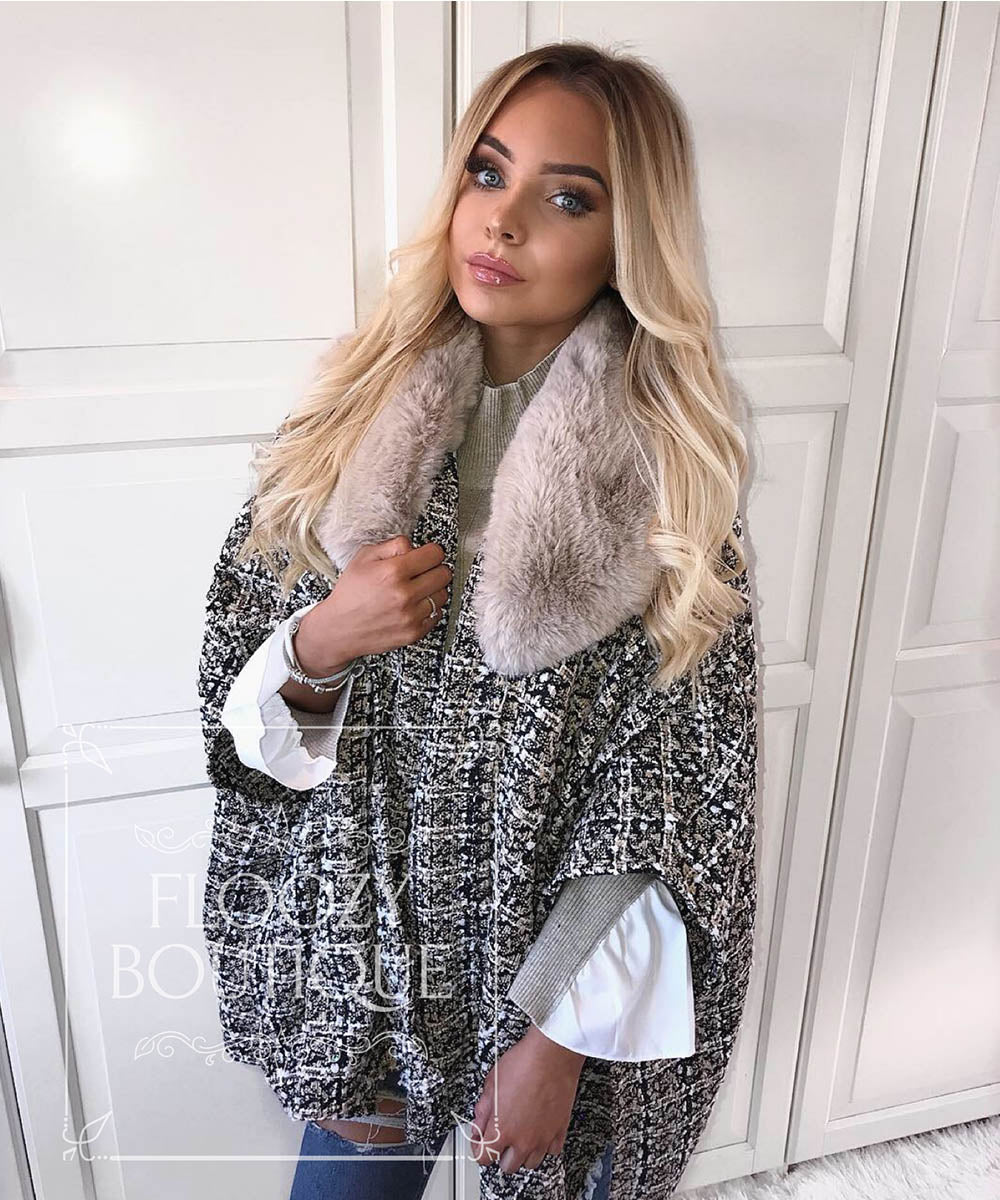Tweed Faux Fur Cape