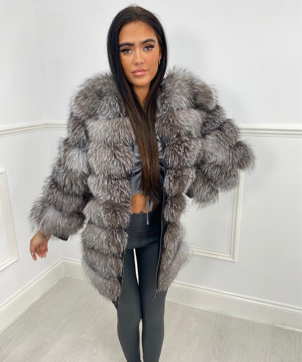 Seven Row Fur Coat/Gilet - Silver
