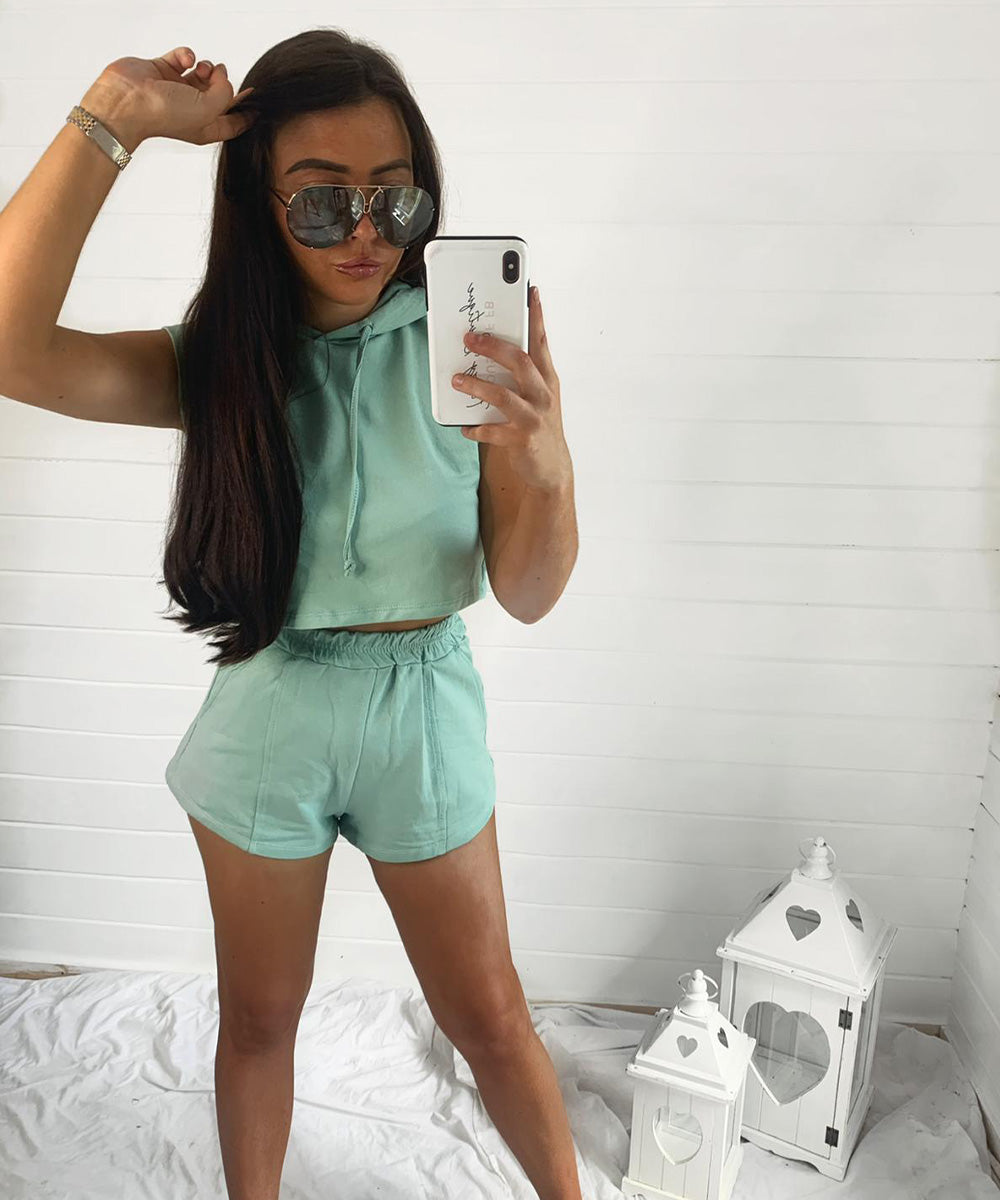 Mint Hooded Cropped Short Set