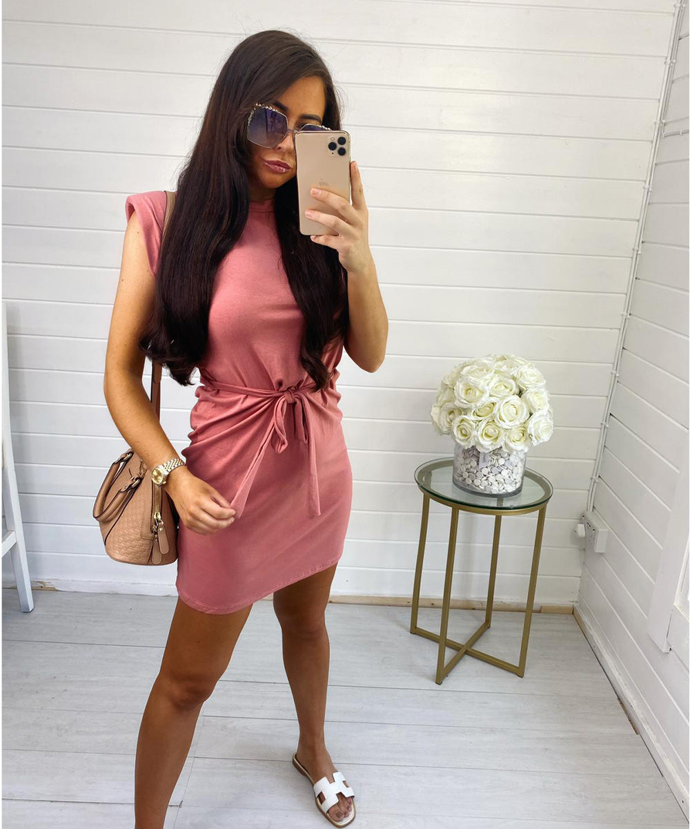 Salmon Pink Shoulder Padded Dress