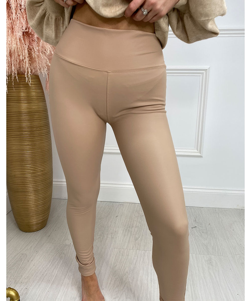 High Waisted Leather Look Leggings Beige