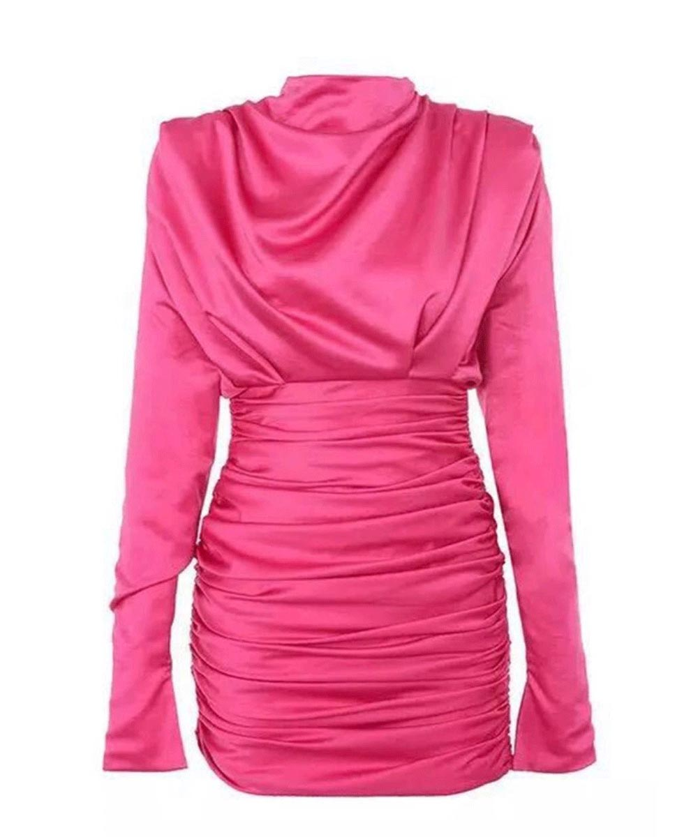 Satin High Neck Ruched BodyCon Dress