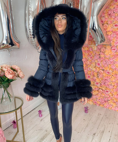Navy Three Row Fur Trim Hooded Coat