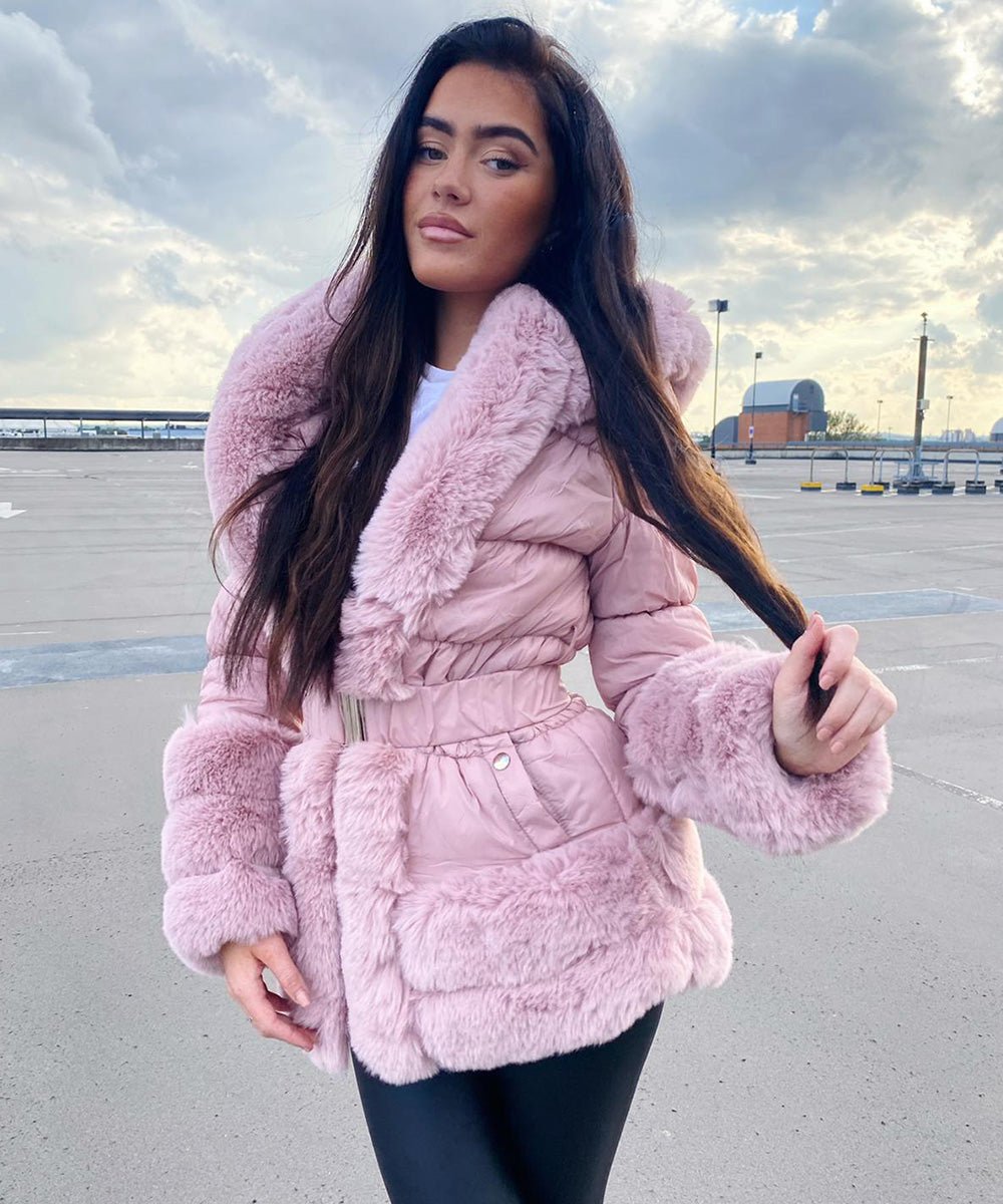 Hooded Faux Fur Coat - Pink