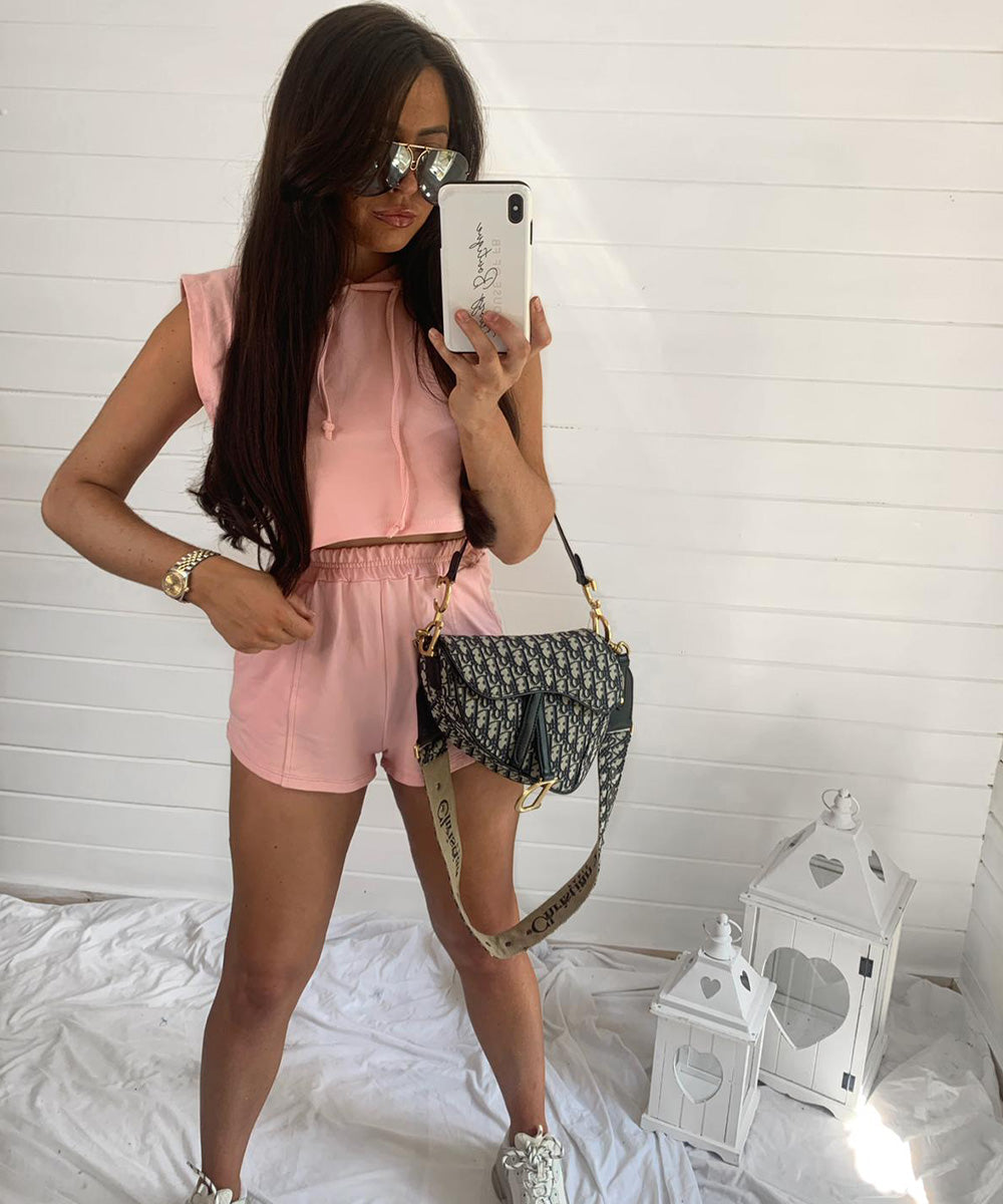 Pink Hooded Cropped Short Set