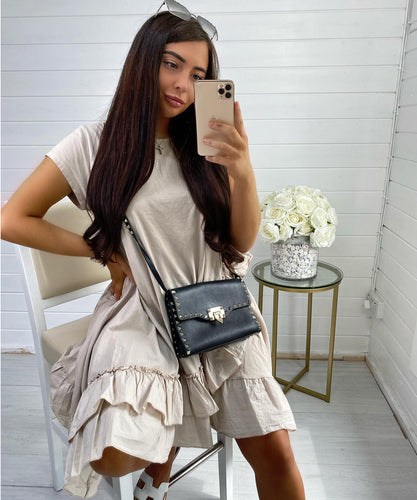 Beige Oversized Frill Dress