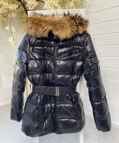 Black Wet Look Pocket Belted Fur Hood Coat