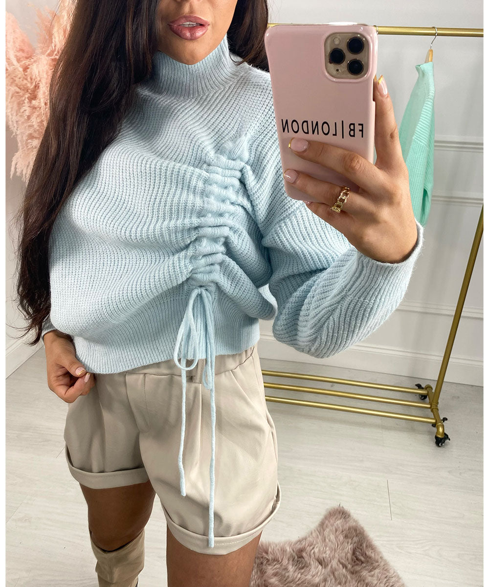 Side Ruched Knit Jumper In Baby Blue