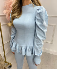 Puff Sleeve Peplum Style Lounge Set In Baby Blue