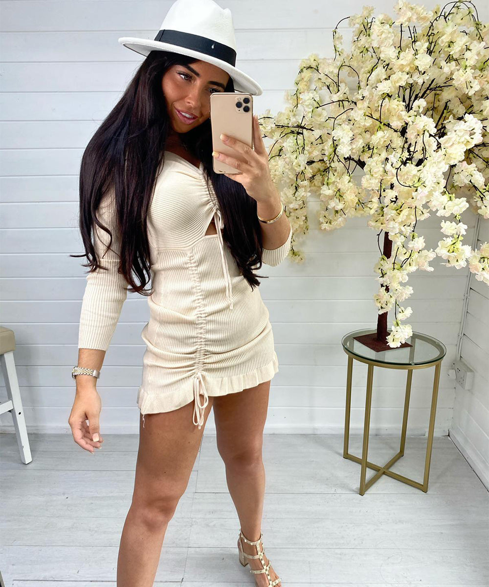 Beige Ribbed Ruched Dress