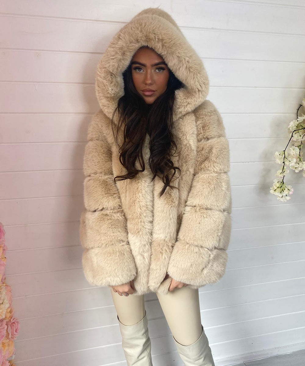 Beige High Quality Faux Fur Coat
