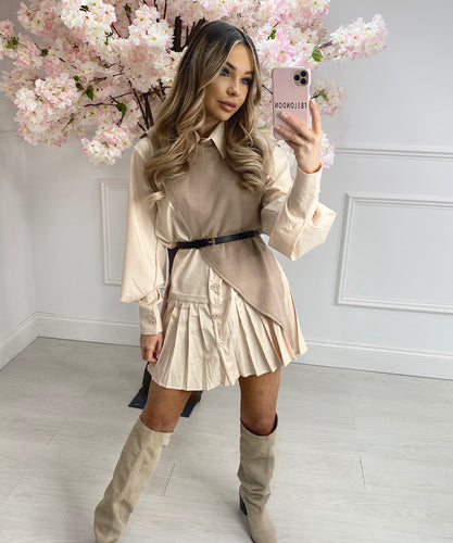 Pleated Three Piece Dress Set In Beige