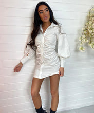 Ruched Shirt Dress - White