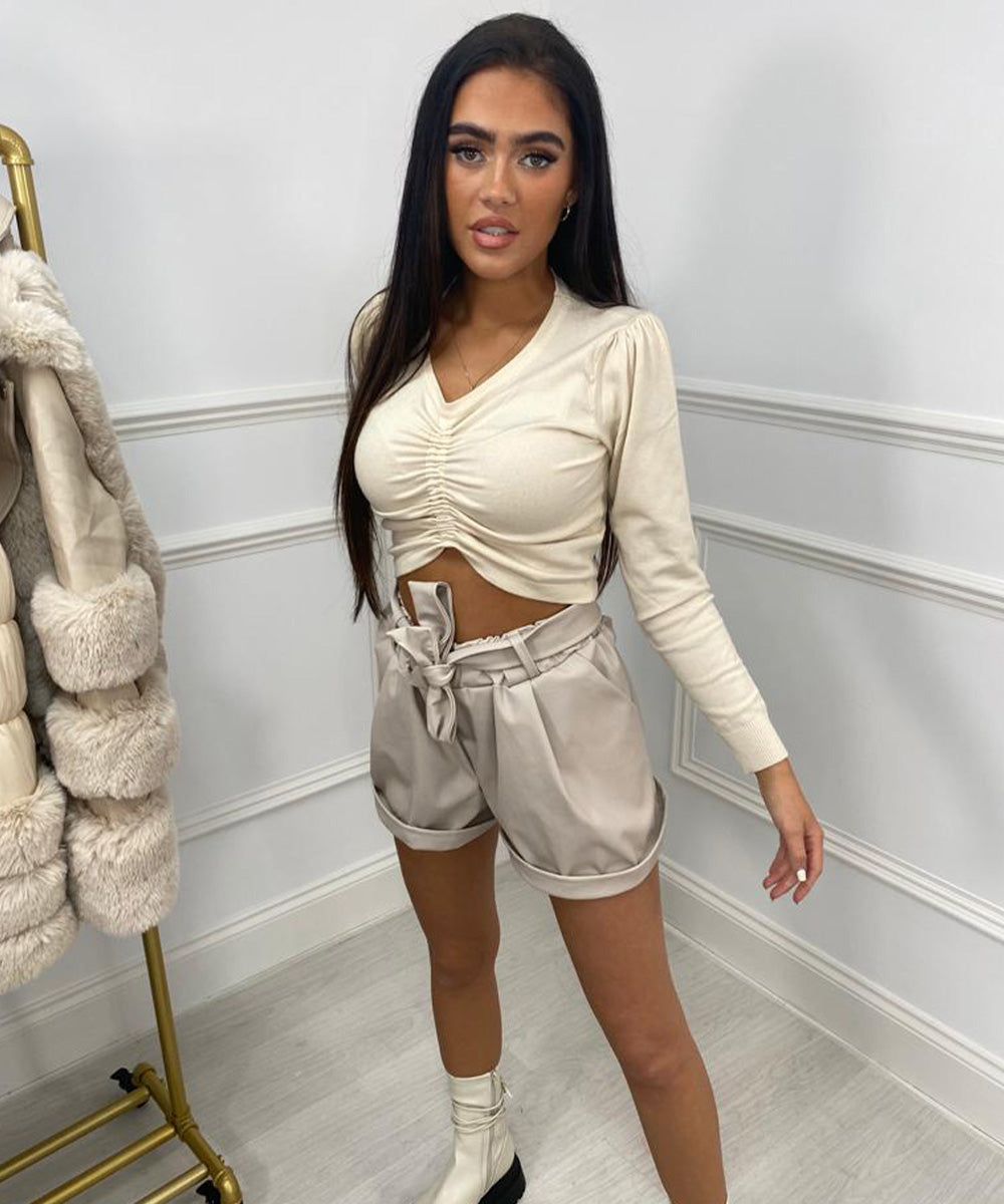 Faux Tie Up Leather Shorts - Beige