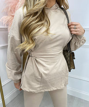 Hooded Side Detail Co-Ord In Beige