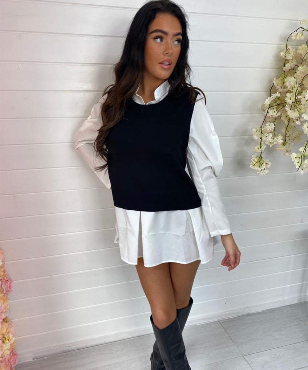 Puff Sleeve Shirt Jumper/Dress - Black