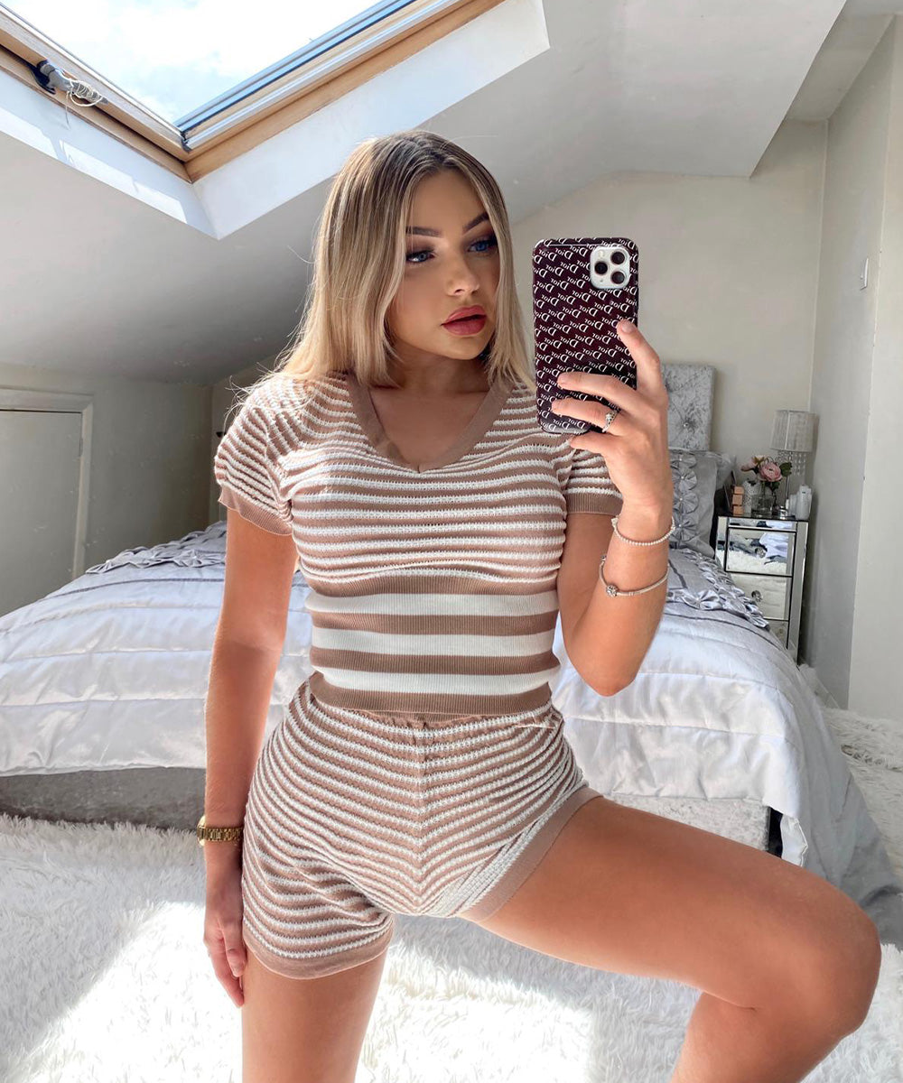 NELLY Beige Stripe Short Set