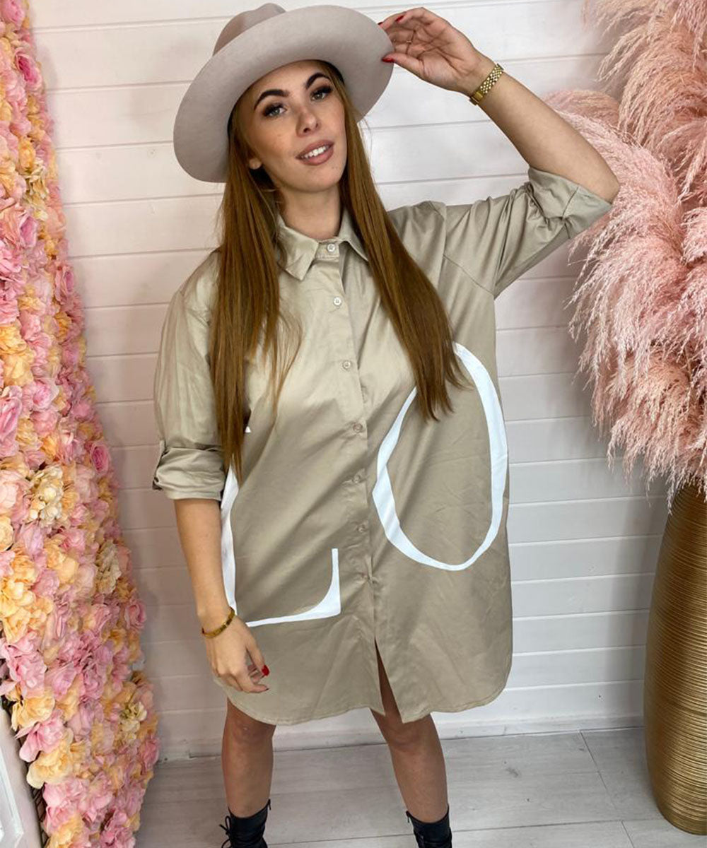 LOVE Oversized Blouse - Beige