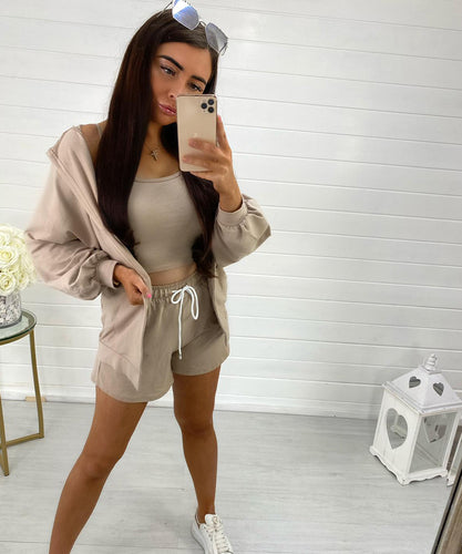 Beige Three Piece Crop Top Short Set