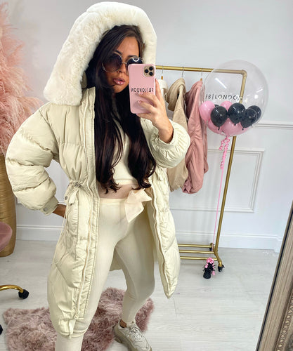 Extra Long Faux Fur Collar Coat In Cream