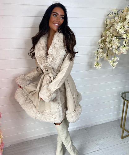 Beige Long Faux Fur Belted Coat