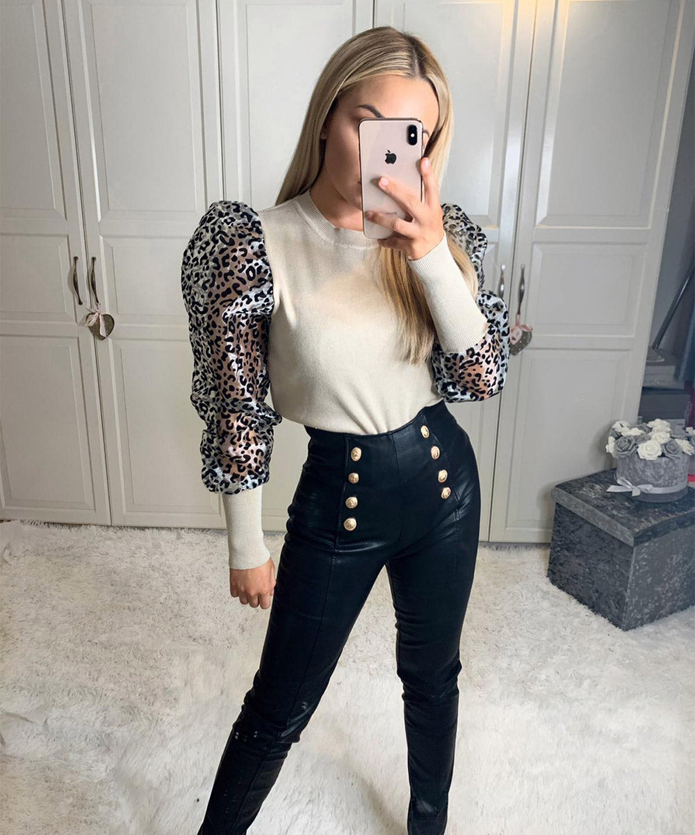 High Waisted Button Faux Leather Leggings