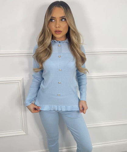 High Neck Diamond Lounge Set In Baby Blue