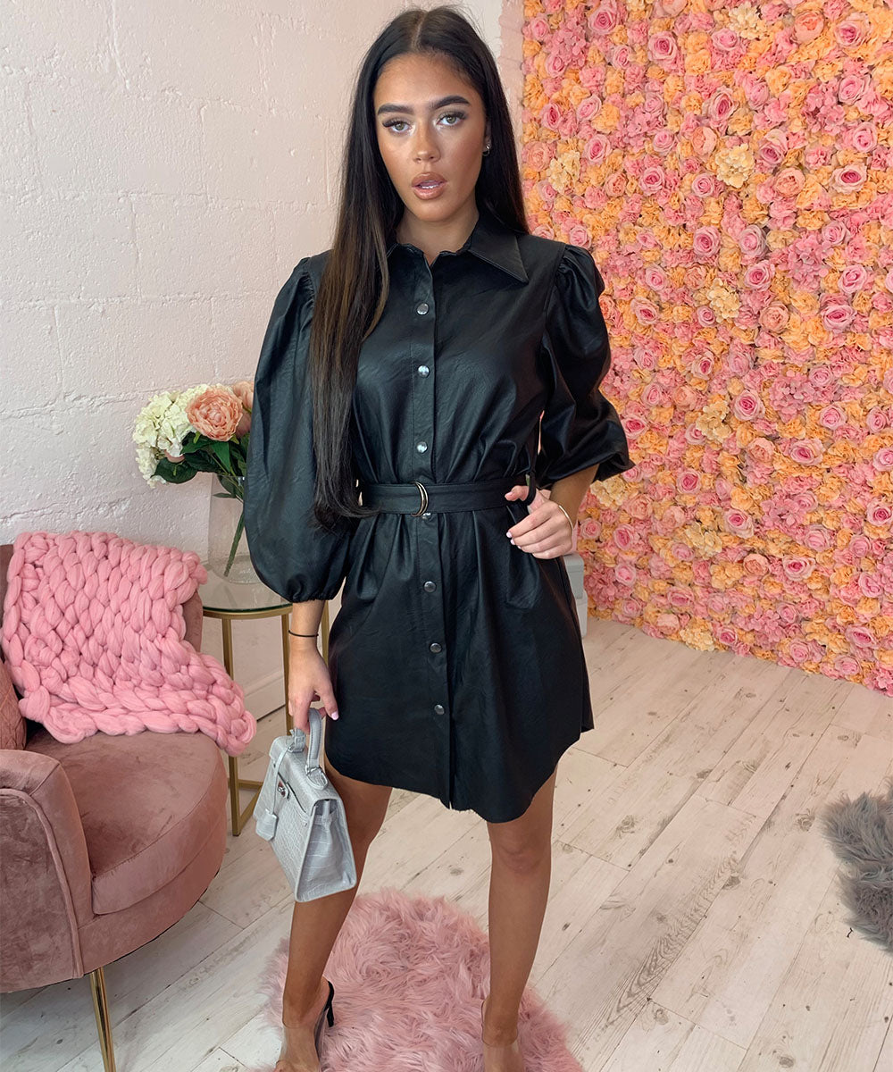 Faux Leather Puff Sleeve Dress
