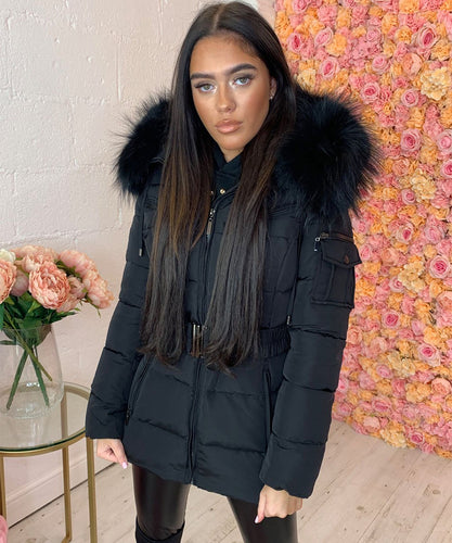 Black With Black Fur Hooded Pocket Coat