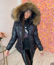 Shinny Pocket Fur Hood Coat
