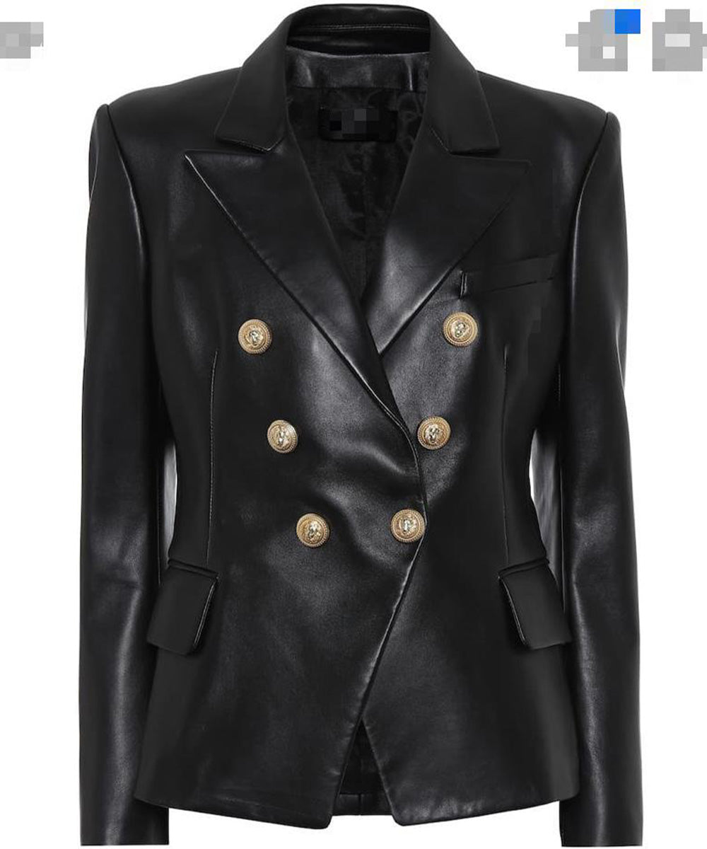 Button Leather Blazer