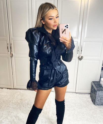 Faux Leather Mesh Jacket