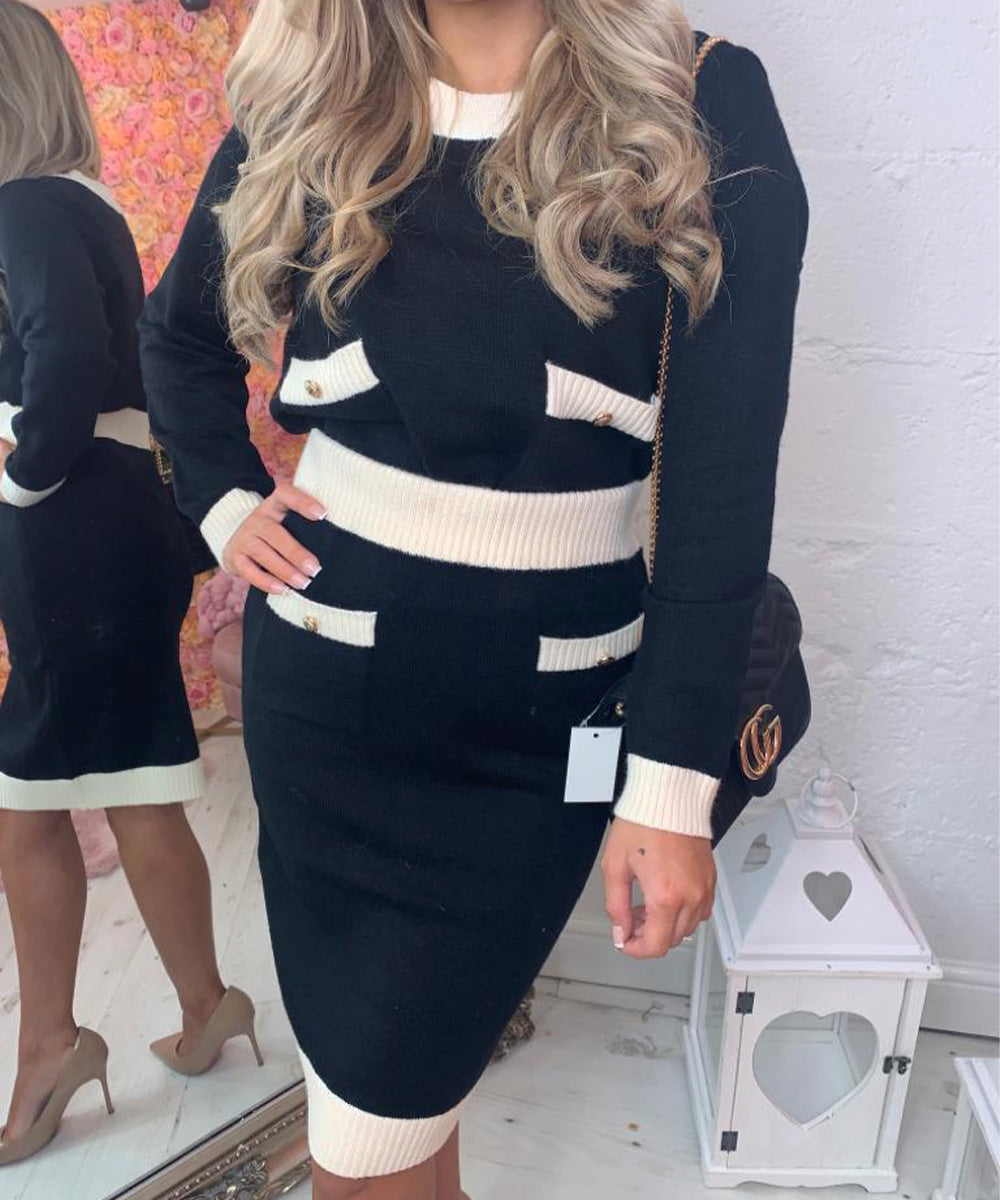 Button Knit Skirt Co-Ord