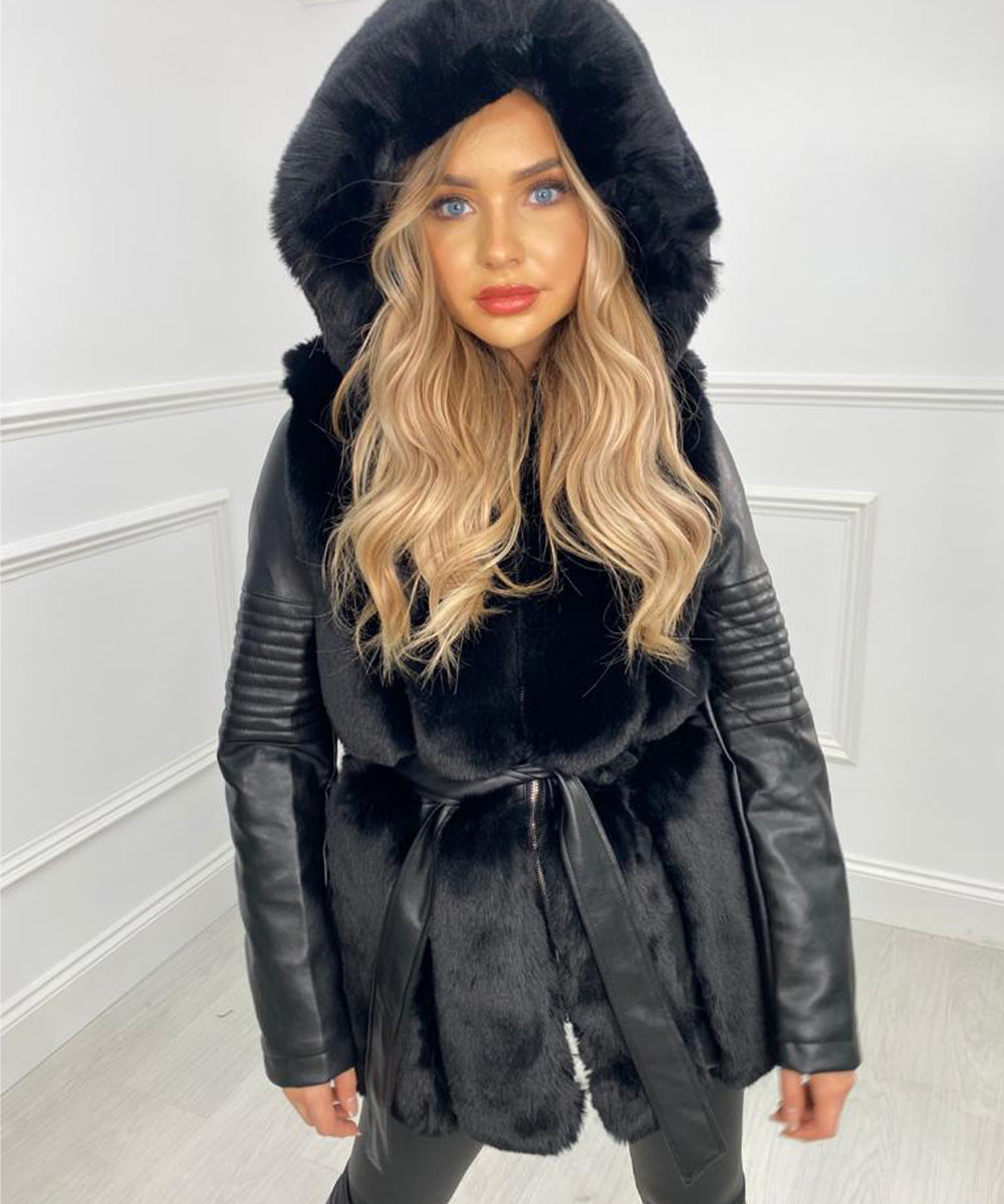 Faux Leather Hooded Jacket - Black