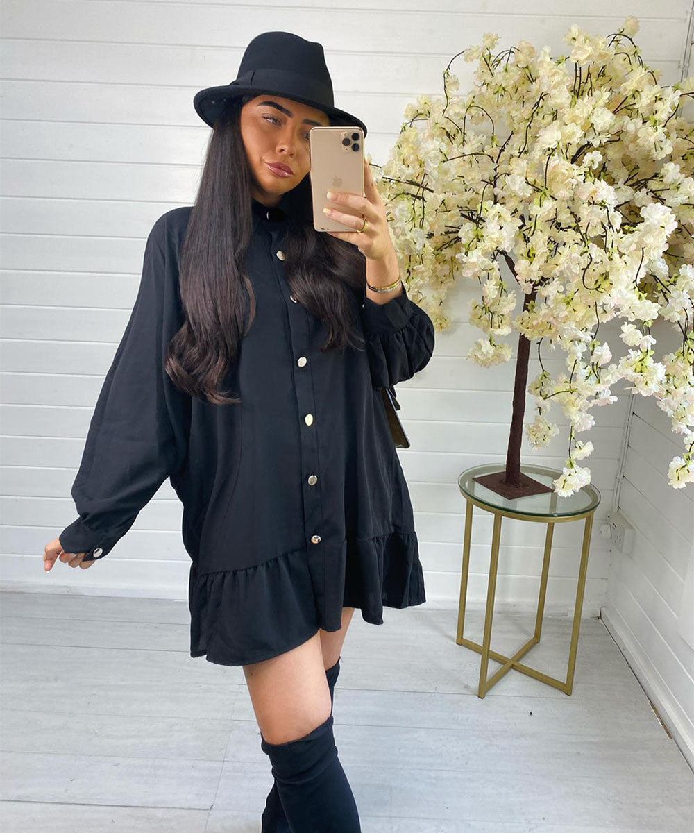 Black Oversized Button Dress
