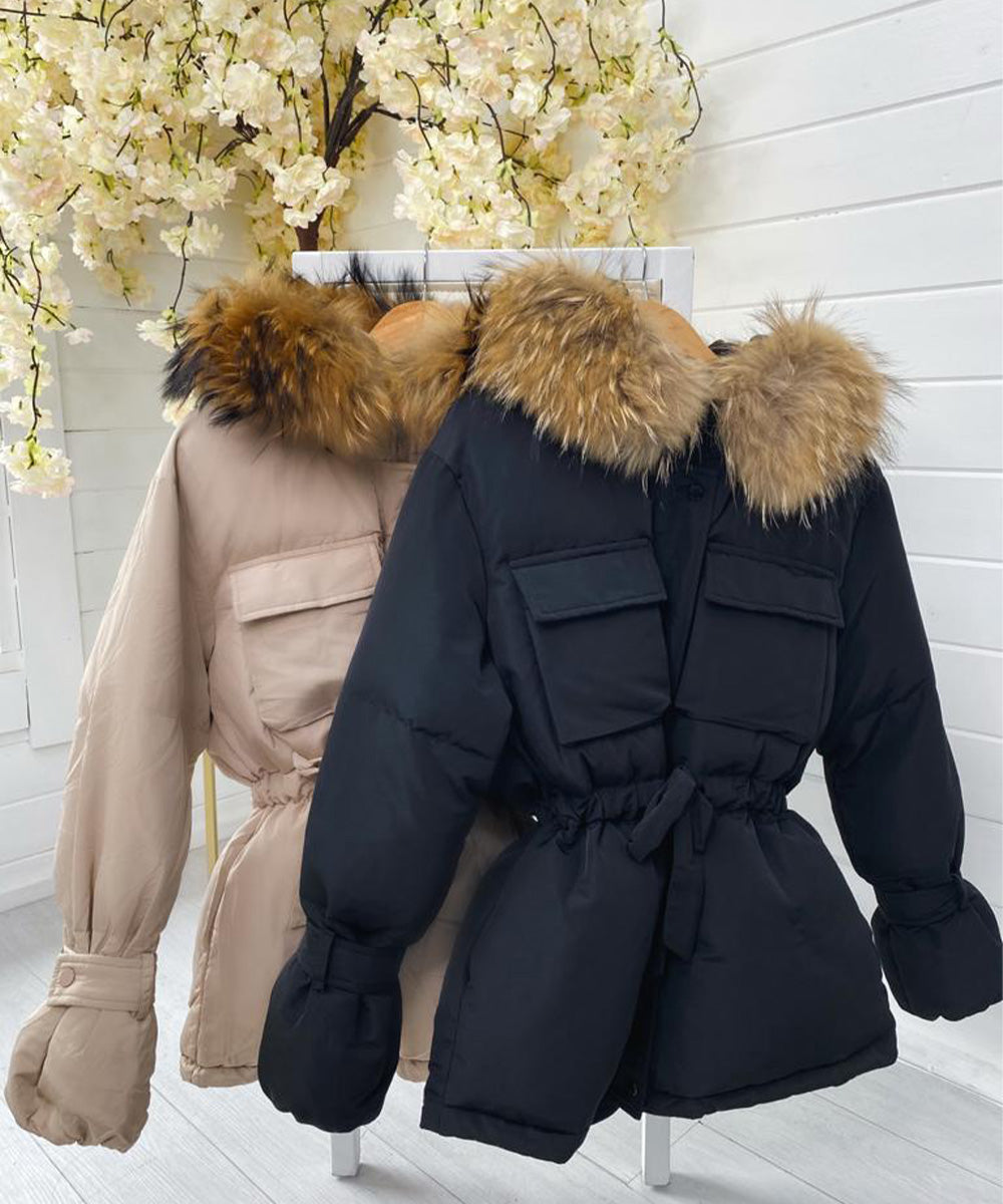 Black Pocket Fur Hooded Coat