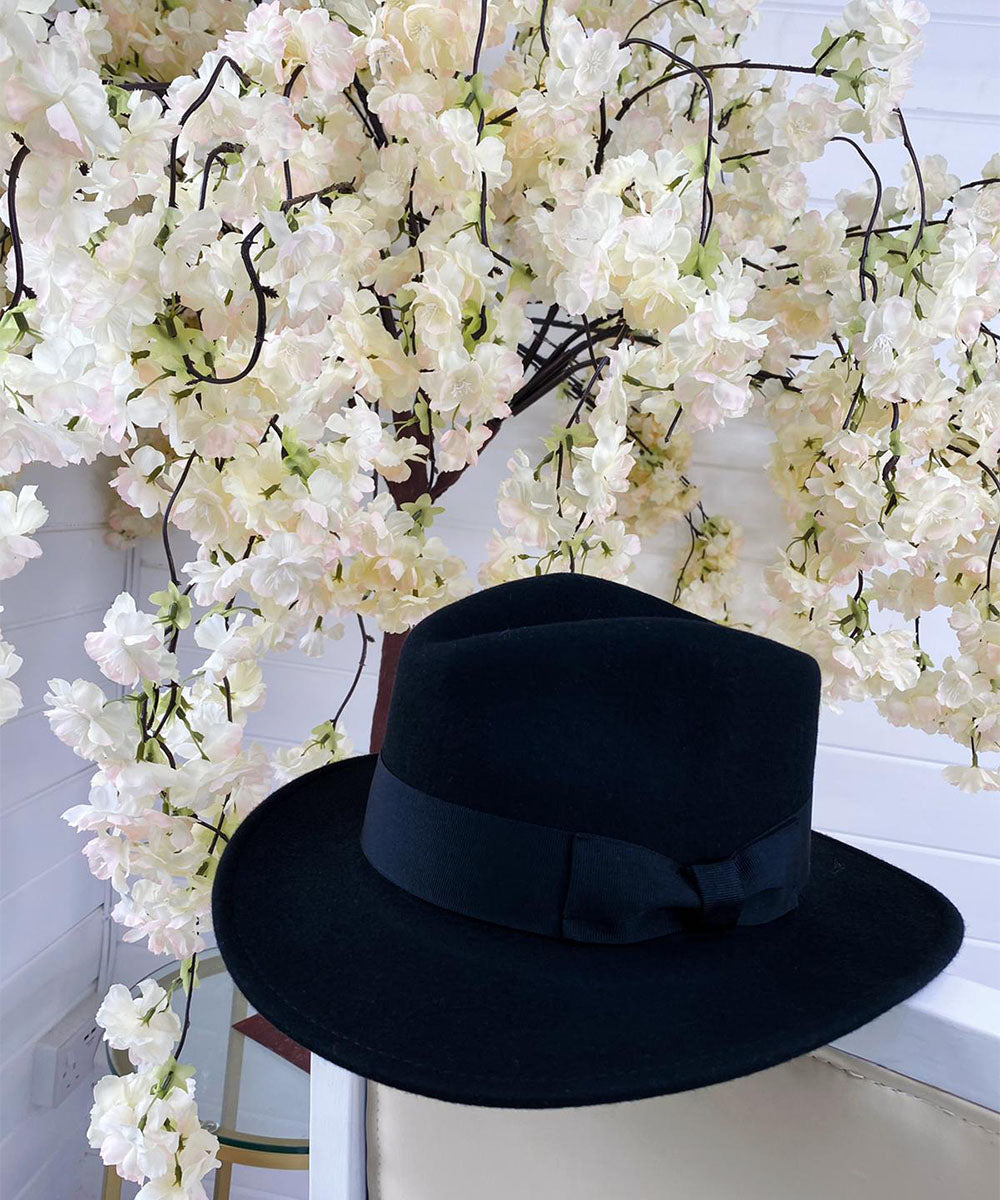 Black Bow Fedora Hat