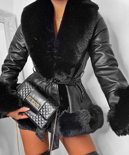 Black Short Faux Fur Belted Coat