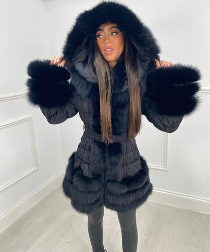 Three Row Fur Trim Hooded Coat - Black
