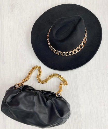 PRE ORDER - Chain Fedora Hat In Black