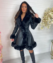 Black With Black Long Faux Fur Belted Coat