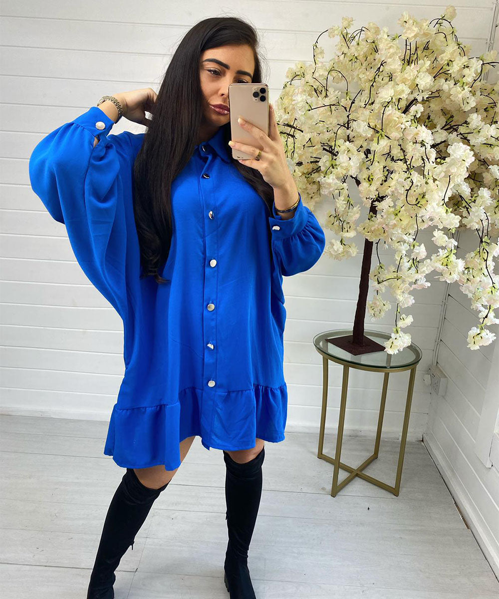 Blue Oversized Button Dress
