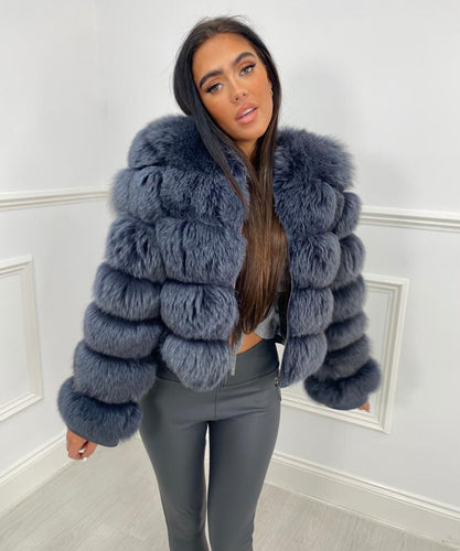 Five Row Fur Coat - Blue