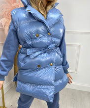 Button Three Piece Gilet Hoody Lounge Set In Blue