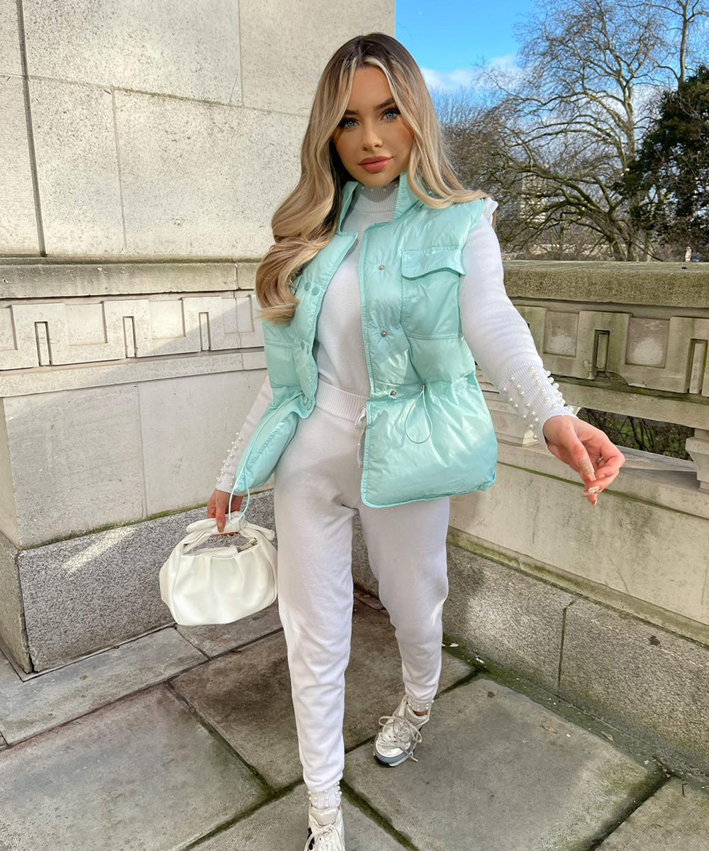 Double Button Gilet In Mint Blue