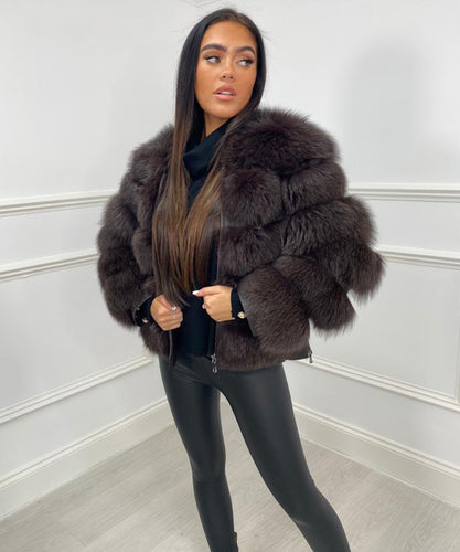 Five Row Fur Coat - Brown