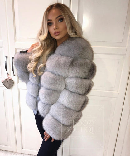 Light Grey Five Row Fur Coat