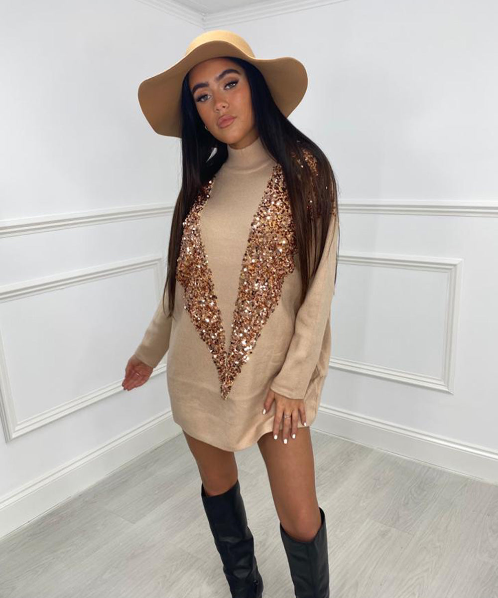 Sequin Oversized Dress Tan