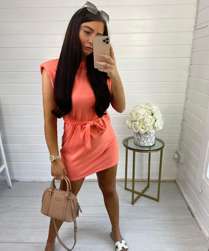 Coral Shoulder Padded Dress