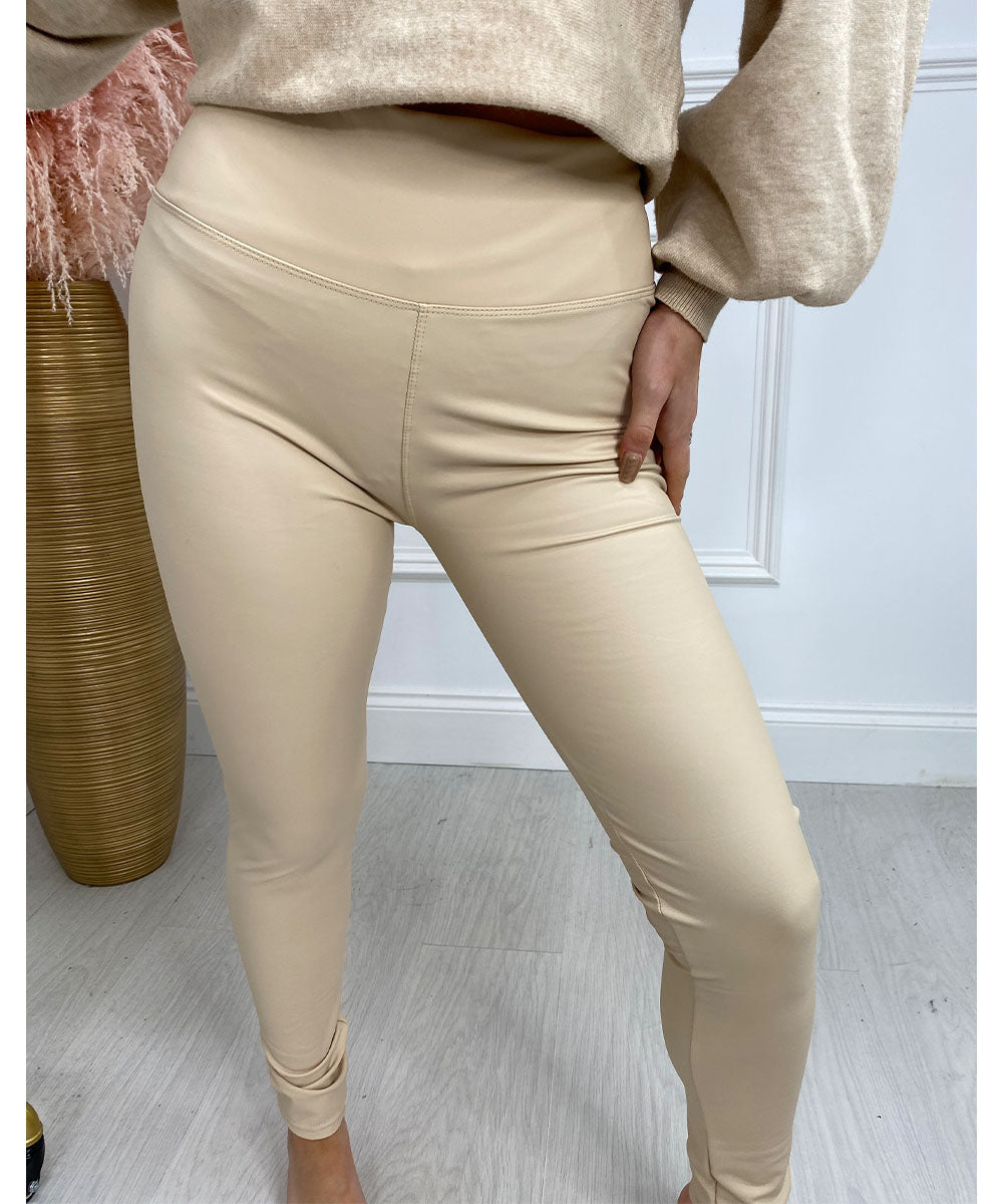 High Waisted Leather Look Leggings Cream